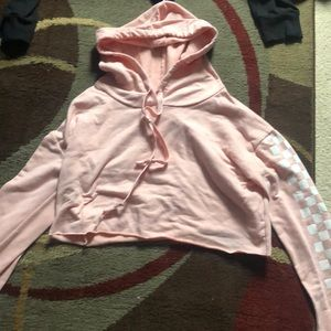 pink checkered cropped hoodie